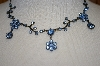**MBA #20-377  Light Blue Crystal Flower Necklace & Matching Earrings
