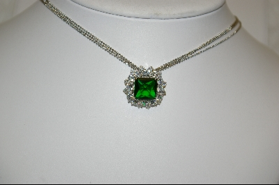 **MBA #23-414  Charles Winston Simulated Emerald & Clear CZ Necklace With Three Strand Chain