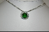 Charles Winston Simulated Emerald & Clear CZ Necklace With Three Strand Chain
