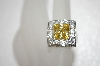 Charles Winston Square Cut Canary Yellow & Clear CZ Ring