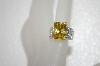 Charles Winston Canary Yellow & Pear Cut Clear CZ Ring