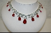 """SOLD""   Charles Winston Classic-Elegant  Red Pear Cut Cz Necklace W/Matching Pierced Earrings"