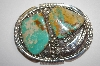 Fancy Green Turquoise 2 Stone Sterling Belt Buckle