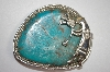 "MBA #21-795  ""Artist Signed ""J"" Beautiful Blue Turquoise Sterling Hopi Belt Buckle"
