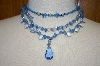 **MBA #21-059  Mystique Of New York Blue Gemstone & Acrylic Bead 3 Row Necklace