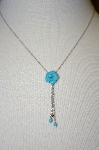 14K White Gold Italian Blue Turquoise Necklace