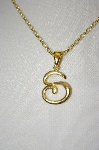 "Veronese 18K OVer Silver Letter ""S"" Pendant With 18"" Chain"