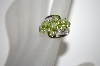 10K Oval Peridot & Diamond Cluster Ring