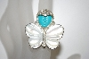 **MBA #21-467  Sterling Mother Of Pearl & Blue Turquoise Ring