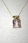 14K Yellow Gold Pink Amethyst & Diamond Pendant