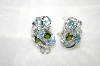 Platinum Plated Silver Aquamarine,Zircon & Chrome Diopside Earrings