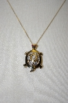 "MBA #21-499  ""14K Diamond Turtle Pin/Pendant With Chain"