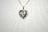 10K 2 Tone Diamond Heart  Pendant With Chain