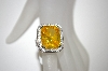 Charles Winston Canary Octagon Cut CZ Ring