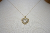 "14K Yellow Gold Diamond Heart Pendant With 16"" Chain"