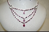 "MBA #CW-CPSNE  ""Charles Winston 16"" Triple Dangle Created Pink Sapphire Necklace & Earrings"