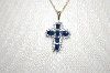 "14K 6 Stone Blue Sapphire Cross With 18"" Chain"