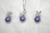 Charles Winston Simulated Purple Pearl & Clear CZ Pendant & Earrings Set