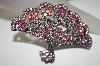 "**MBA #21-543  ""Kirks Folly Pink Crystal Fan Pin/Pendant"