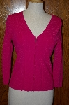 "MBA #23-450  ""Designer ""Belldini"" Bright Pink Zip Front Sweater"
