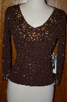 "MBA #23-418   ""Pierri  New Your Chocolate Brown Hand Embelished Sweater"