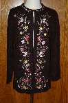"MBA #24-359  ""Victor Costa Black Floral Ebroidered Sweater  Coat"