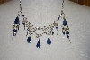 Blue Sodalita Stone Necklace With Matching Earrings