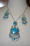 Peruvian Blue Turquoise Necklace & Matching Earrings
