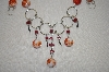 Peruvian Red & White Murano Glass Necklace & Matching Earrings