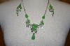 Peruvian Green Jade Necklace & Matching Earrings