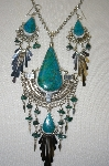 Peruvian Blue/Green Turquoise Large Necklace & Earrings Set