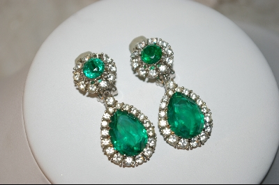 Clip On Earrings Sold Antique Ciner Emerald Green Gl Clear Crystal
