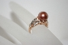 14K Rose Gold Tahitian Pearl & Diamond Ring