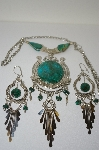 Preruvian Green Turquoise Nectlace & Matching Earrings