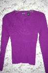 Moda Purple V-Neck Pullover Ribbed Knit Sweater