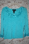 "MBA #5-1900  "" J.A.C. Turquoise Blue Crochet Trimmed Knit Sweater"