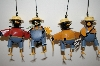 Set Of 4 Metal Farmer Crow Collecta Bell Ornaments