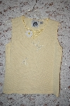 "MBA #5-1842   ""StoryBook Knits Limited Edition Light Yellow Floral & Bead Embelished Tank"