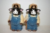"Set Of Large ""Farmer Cow"" Salt & Pepper Shakers"