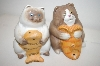** Ceramic Cats With Fish Salt & Pepper Shakers