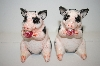 """PD"" Pink & Black Pig Salt & Pepper Shakers"
