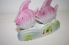 Vintage Pink Fish On a Stand Salt & Pepper Shakers