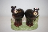 2003 Girl & Boy Black Bear Salt & Pepper Shakers On Stand