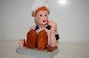 "** 1996 ""I Love Lucy"" Eating Chocolates Stand & Salt & Pepper Shakers"