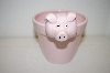 1998 Small Ceramic Pink Pig Flower Pot