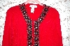 "MBA #34-015  ""Red Victor Costa Beaded Border Cardigan"