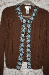 "MBA #34-011  ""Brown Victor Costa Beaded Border Cardigan"