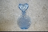 Blue Rose Glass Perfume Bottle W/Heart Shaped Stopper