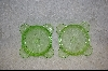 Set Of Two Green Depression Glass Ashtrays #4462