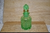 Beautiful Patterned Green Glass Perfume Bottle #4873